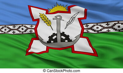 Closeup Bahia Blanca city flag, Argentina