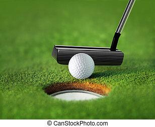 closeup, bal, golf tee