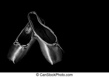 Closeup Ballet Shoe Black and White