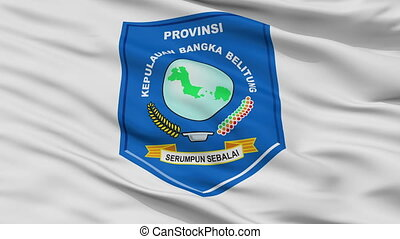 Closeup Bangka Belitung city flag, Indonesia - Bangka ...
