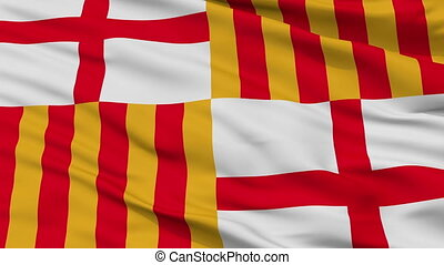 Closeup Barcelona city flag, Spain - Barcelona closeup flag,...
