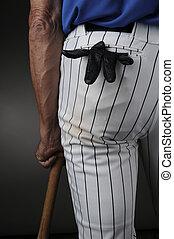 Closeup Baseball Player Leaning on Bat