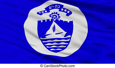 Closeup Bat Yam city flag, Israel - Bat Yam closeup flag,...