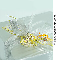 closeup. beautiful box with a gift. isolated on white