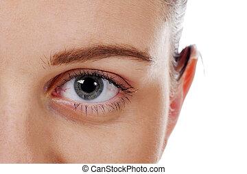 Closeup beautiful woman eye with long lashes