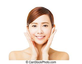 closeup beautiful young woman face