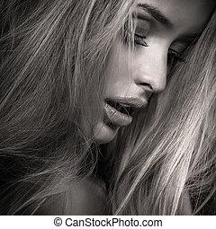 Closeup beauty portrait.