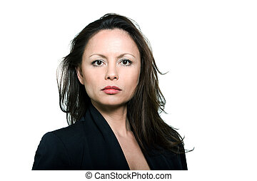Closeup beauty portrait of serious mature woman - Closeup...
