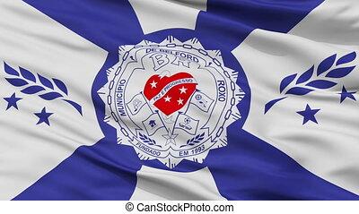 Closeup Belford Roxo city flag, Brasil - Belford Roxo...