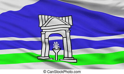 Closeup Belokurikha city flag, Russia - Belokurikha closeup...