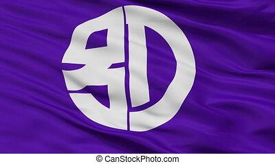 Closeup Beppu city flag, prefecture Oita, Japan - Beppu...