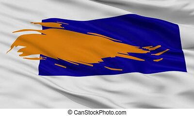 Closeup Bergen city flag, Netherlands - Bergen closeup flag,...