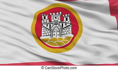 Closeup Bergen city flag, Norway - Bergen closeup flag, city...
