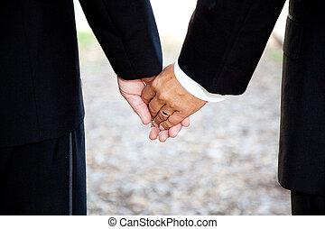closeup, -, besitz, hochzeit, gay, hände