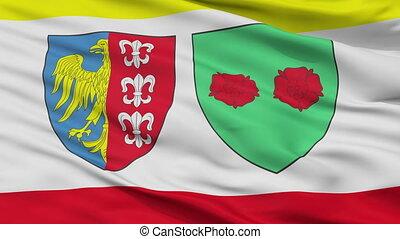 Closeup Bielsko Biala city flag, Poland - Bielsko Biala...