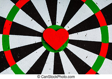 Closeup black white target with heart bullseye as love...