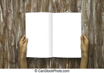 Closeup Blank Open Book White Paper Sheet Holding Male...