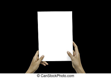 Closeup Blank White Paper Sheet Mockup Holding Female Hands...