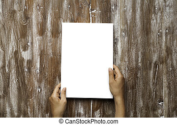 Closeup Blank White Paper Sheet Mockup Holding Male Hands...