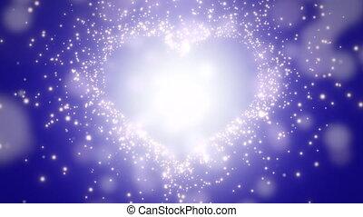 Closeup blue hearts of love, wedding background