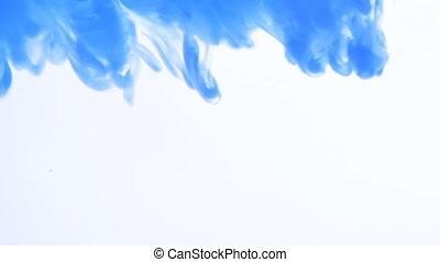 Closeup blue ink over white background - Closeup blue ink...