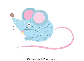 Closeup Blue Mouse with Tail Vector Illustration