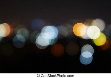 closeup blur bokeh light in city