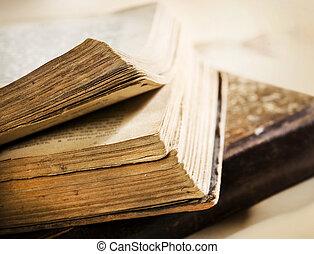 closeup, boek, oud, zeer