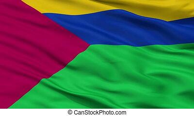 Closeup Bolivar city flag, Venezuela - Bolivar closeup flag,...