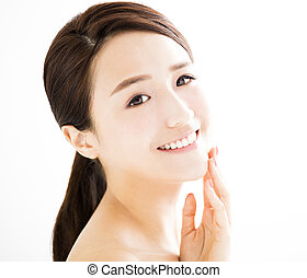 closeup, bonito, mulher jovem, com, limpo, rosto