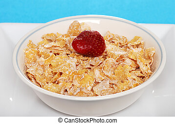 closeup bowl cereal with strawberry