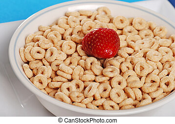 Closeup bowl of cereal strawberry
