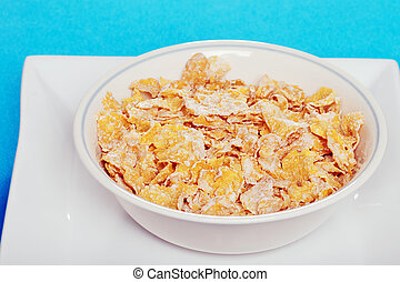 closeup bowl of flaky cereal