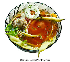Closeup bowl of haricot soup with teftel