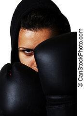 closeup, boxe, noir, gants, girl, portrait