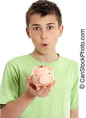 Closeup boy with money box