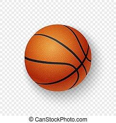 closeup, brązowy, koszykówka, przeźroczystość, klasyk, mockup., grafika, odizolowany, 3d, realistyczny, wektor, projektować, tło., szablon, pomarańczowy ruszt, ikona, górny prospekt