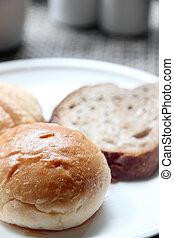 Closeup Bread in a white dish.