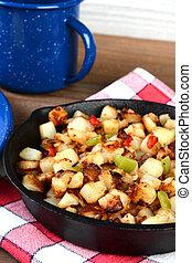 Closeup Breakfast Potatoes in Skillet