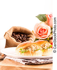 breakfast tuna sandwich and coffee