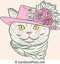 closeup, britannico, gatto, vettore, hipster, ritratto, signora