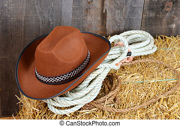 Brown cowboy hat on straw