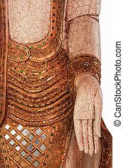Closeup buddha image, Attitude of the Buddha, The attitude of subduing Mara, isolated on white background