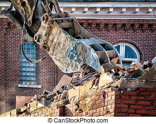 Closeup Building demolition - Closeup of JOHN DEERE 892elc ...