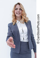 closeup. business woman stretching hand for...