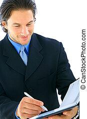 Closeup Businessman Looking At Agenda