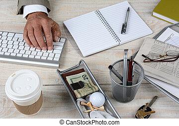Closeup Businessmans Desk