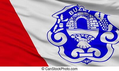 Closeup Buzeta city flag, Croatia - Buzeta closeup flag,...