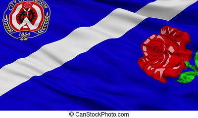 Closeup Ca On Windsor city flag, Canada - Ca On Windsor...