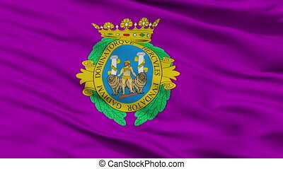 Closeup Cadiz city flag, Spain - Cadiz closeup flag, city of...